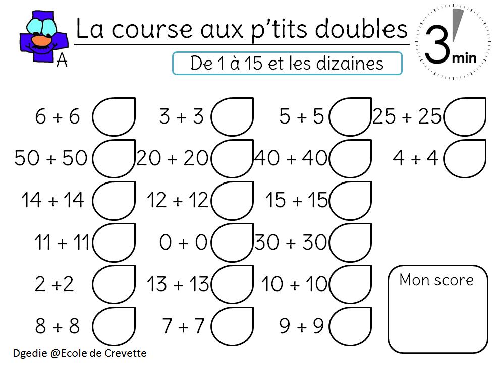Jeux Des Doubles Moities Des Triples Et Plus L Ecole De Crevette