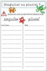 Singulier ou pluriel, jeu, grammaire, atelier