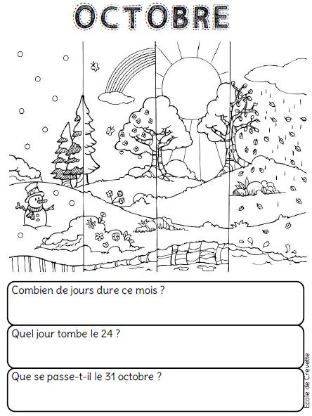 Calendrier Ce1 Exercices.Les Mois De L Annee L Ecole De Crevette