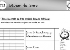 Evaluation Calendrier Ce1.Mesure Du Temps L Ecole De Crevette