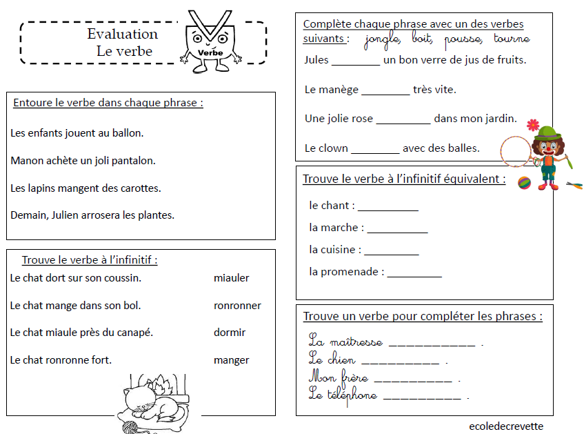 Evaluation sur le verbe - L ecole de crevette