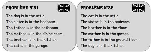 Le jeu de la maison - Cartes en anglais