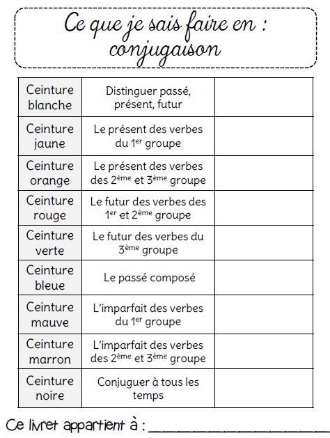 Ceintures De Conjugaison Ce2 L Ecole De Crevette