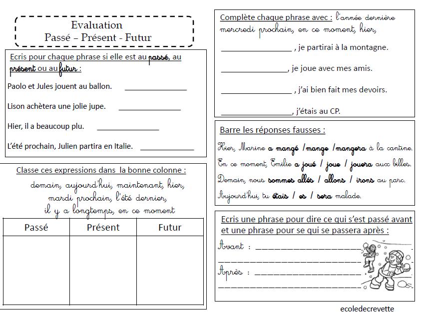 Evaluation Passe Present Et Futur L Ecole De Crevette