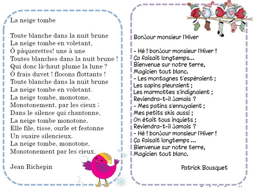 Sélection De Poésies Autour De Lhiver L Ecole De Crevette