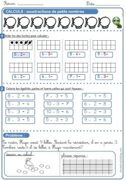 Additions et soustractions de petits nombres