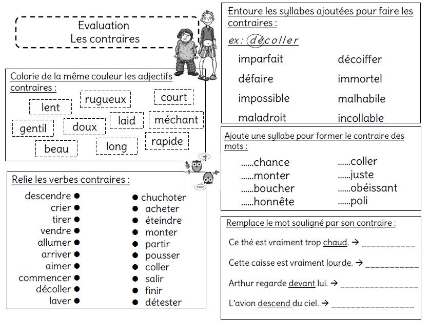 Evaluation Sur Les Contraires L Ecole De Crevette