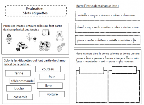 Evaluation sur les mots étiquettes