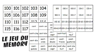 Mémory des nombres de 100 à 199